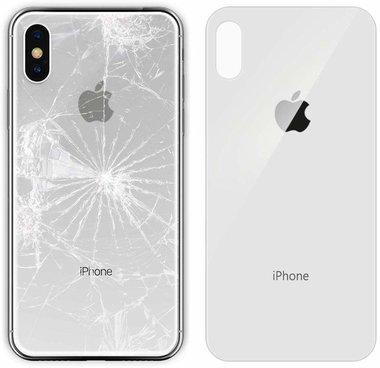 Achterkant back cover glas met logo voor Apple iPhone XS Max zilver Wit