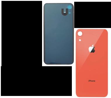 Achterkant back cover glas met logo voor Apple iPhone XR Koraal