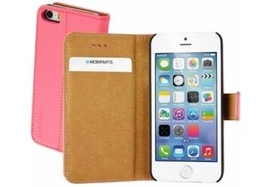 Mobiparts Premium Wallet Case Apple iPhone 5/5S/SE Peach Pink