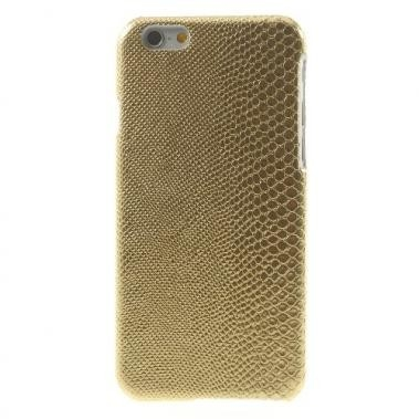 Hard Case met PU Lederen Coating Lizard Skin Goud voor Apple iPhone 6/6S