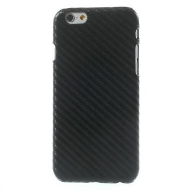 Hard Case met PU Lederen Coating Carbon Fibre Zwart voor Apple iPhone 6/6S