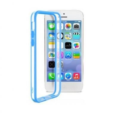 Puro Bumper Case Transparant/Blauw voor Apple iPhone 5C