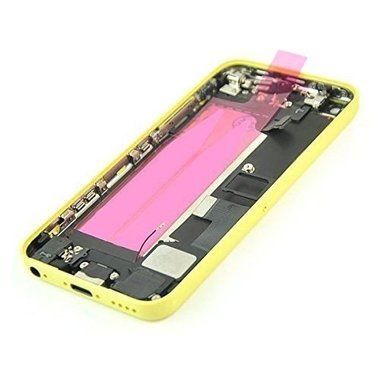 Achterkant incl. knopjes en smallparts voor de Apple iPhone 5C geel OEM